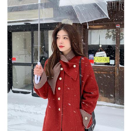 YF28463# 夏诗文羊毛混纺双面呢大衣中长款领巾设计气质红色毛呢外套女冬 服装批发女装直播货源