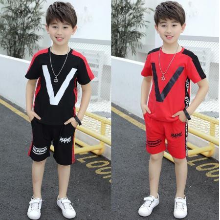 YF39838# 童装儿童中大童纯棉韩版夏季男孩两件套潮