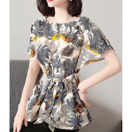 YF40102# 短袖雪纺衫女装年夏季新款印花上衣气质收腰显瘦时尚小衫洋气 服装批发女装直播货源