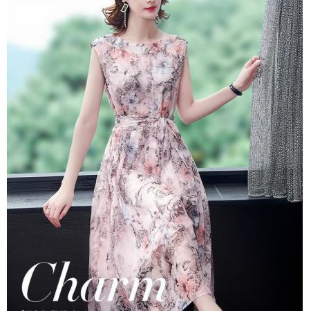 YF40428# 雪纺无袖连衣裙女新款夏印花气质收腰显瘦碎花长款裙子