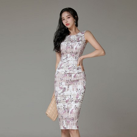 YF41240# 韩版夏季小香风修身碎花无袖优雅连衣裙 服装批发女装货源