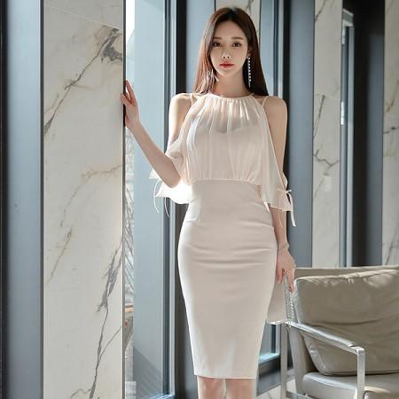 YF41249# 韩版夏装新款假两件套露肩平雪纺拼接连衣裙女包臀中裙 服装批发女装货源