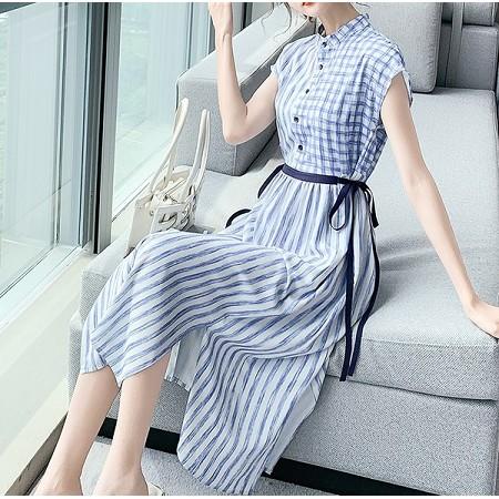 YF41483# 雪纺衬衫夏装条纹连衣裙新款女夏中长款设计感小众潮夏季裙子
