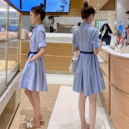 YF41484# 条纹连衣裙女夏季新款女式竖条纹短袖收腰显瘦衬衫裙子女夏