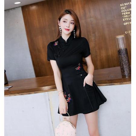 YF41801#  连衣裙春女装夏黑色小个子气质两件套中国风旗袍改良版