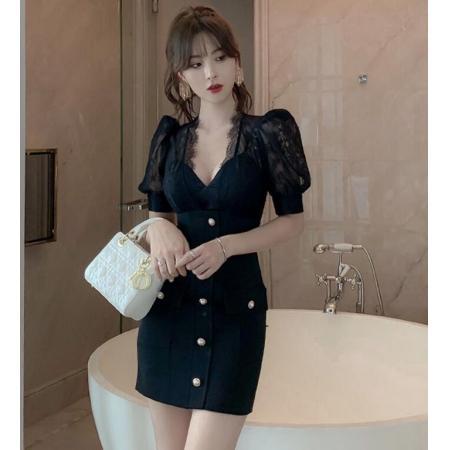 YF41807# 欧洲站修身短款包臀小晚礼服宴会小洋装名媛气质蕾丝连衣裙夏