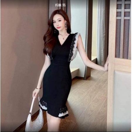 YF43444# 2021新款法式桔梗复古时尚高腰连衣裙荷叶边鱼尾裙优雅礼服裙子女