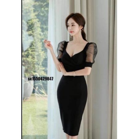 YF43445# 2021夏季新款韩版时尚气质优雅修身显瘦性格包臀v领职业装连衣裙