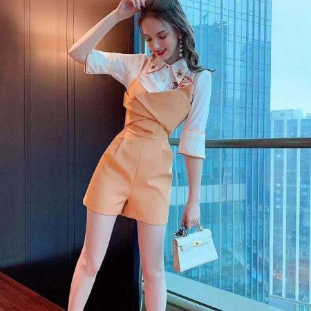 YF44001# 套装女2021新款 春夏气质显瘦印花设计感百搭潮 衬衫+背带连体裤