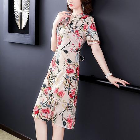 YF44821# 有女人味的连衣裙雪纺夏季中长款气质收腰显瘦碎花一步裙 服装批发女装直播货源