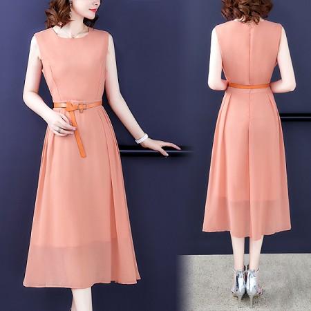 YF44823# 有女人味的连衣裙夏装新款流行无袖雪纺收腰显瘦气质裙子 服装批发女装直播货源