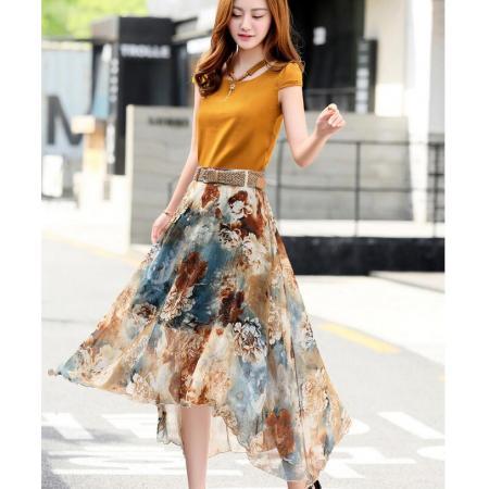 YF45154# 套装长裙子女春夏气质新款韩版时尚显瘦两件套雪纺印花连衣裙 服装批发女装直播货源