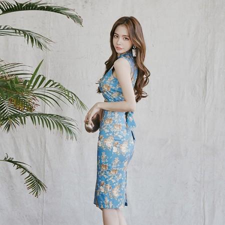 YF45175# 夏款韩版高腰修身立领无袖露背印花修身连衣裙女 服装批发女装直播货源