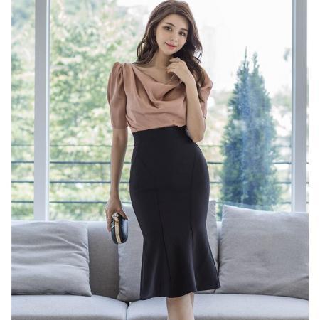 YF45179# 新款气质时尚套装上衣+鱼尾裙 服装批发女装直播货源
