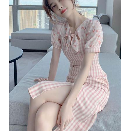YF45471# 格子碎花雪纺连衣裙女夏季新款可甜可盐气质减龄小个子改良版旗袍