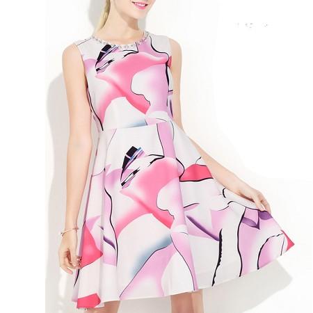 YF45993# 欧洲站亚马逊速卖通跨境圆领无袖印花连衣裙A字裙女裙 服装批发女装直播货源