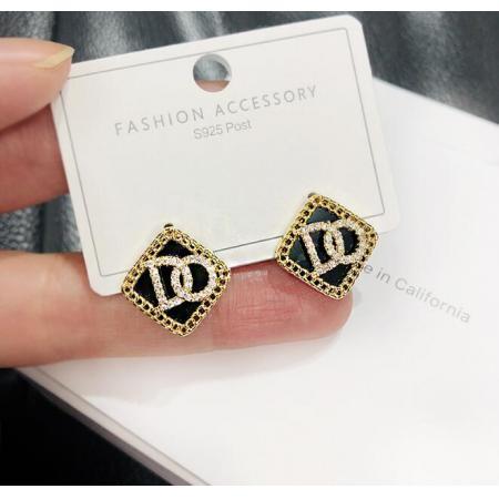 YF46020# 黑色镶钻耳钉新款潮女显气质纯银针耳环短款耳饰