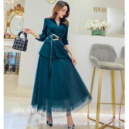 YF46027# 炸街时尚网红套装秋冬新款女西装外套网纱半身裙女神两件套