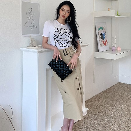 YF47439# 新款两件套夏装韩版休闲T恤上衣双排扣修身包臀裙套装女 服装批发女装直播货源