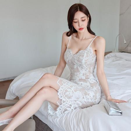 YF47442# 夏装新款韩版气质修身吊带裙中长款蕾丝包臀时尚连衣裙 服装批发女装直播货源