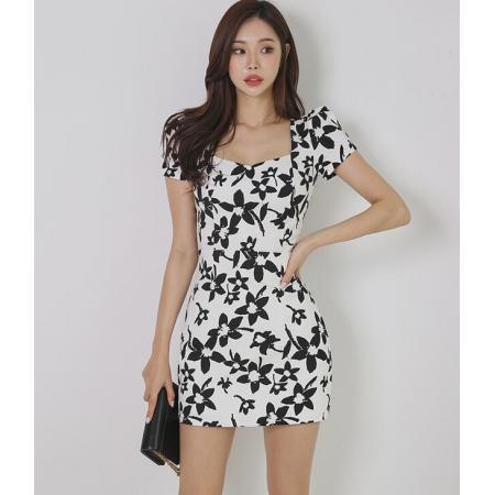 YF47458# 韩版高端泡泡袖轻奢印花修身小众气质包臀连衣裙 服装批发女装直播货源