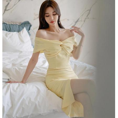 YF47461# 春款韩版修身高腰扭结褶皱抹胸裸肩一字领开叉连衣裙 服装批发女装直播货源