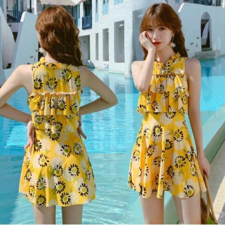 YF47464# 夏季泳衣女分体平角两件套新款韩国ins学生保守显瘦遮肚泳衣