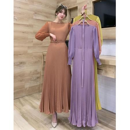 YF47926# 设计感压褶收腰显瘦气质轻熟风女装春季新款法式连衣裙长款百褶裙