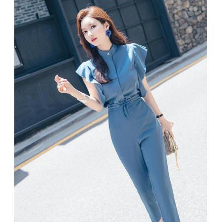 YF48765# 女套装夏季御姐范时尚气质垂感直筒显瘦九分裤职业OL两件套