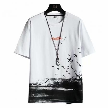 CX5734# 最便宜服装批发 夏季冰丝短袖t恤男士2021新款潮牌冰感体恤内搭半袖上衣服男T