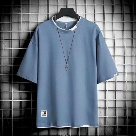 CX5740# 最便宜服装批发 短袖t恤男士夏季潮牌潮流ins宽松假两件半袖上衣体恤情侣装打底衫