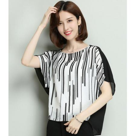 YF48768# 新款夏装时尚洋气条纹T恤衫