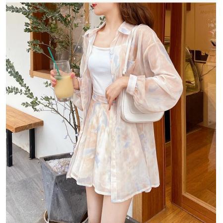 YF49241# 小玉酱套装女长袖防晒衬衫阔腿短裤两件套网红洋气夏装