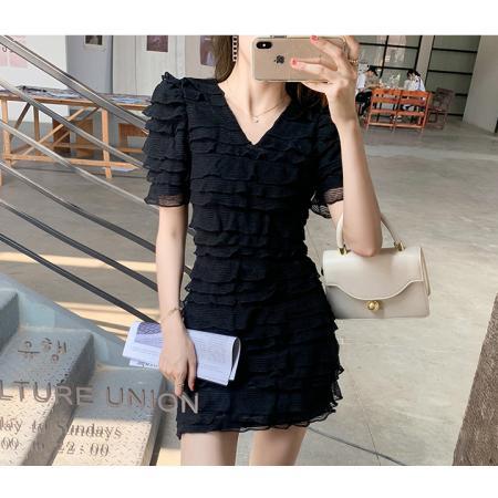 YF49494# 法式气质v领白色连衣裙2021年新款春季款韩版收腰显瘦温柔风裙子