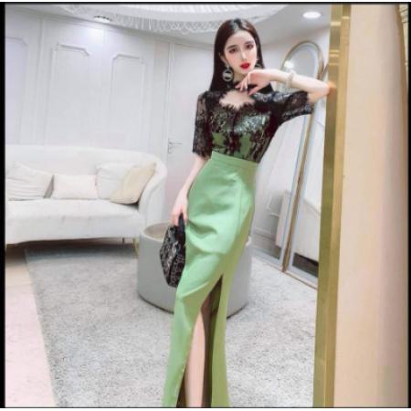 YF49723# 名媛气质蕾丝拼接连衣裙收腰显瘦女2021新款Ch开叉包臀裙韩版