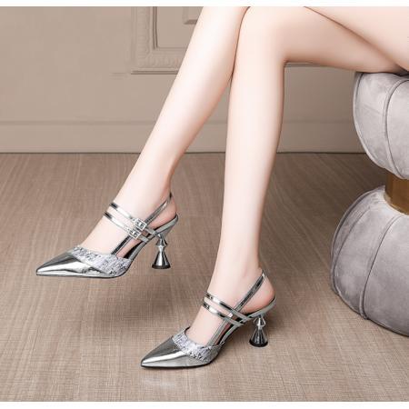 X-25518# 包头凉鞋女洋气拼接一字扣高跟鞋女粗跟真皮尖头女鞋