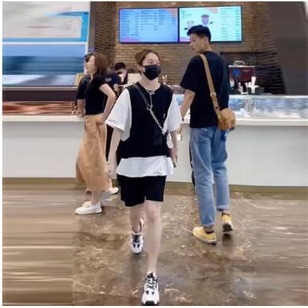 YF50177# 假两件T恤女短裤两件套欧货2021夏季新款韩版宽松休闲港风套装潮