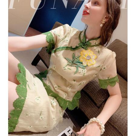 YF50379#  套装裙两件套夏复古中国风年轻款改良旗袍汉服上衣半身裙