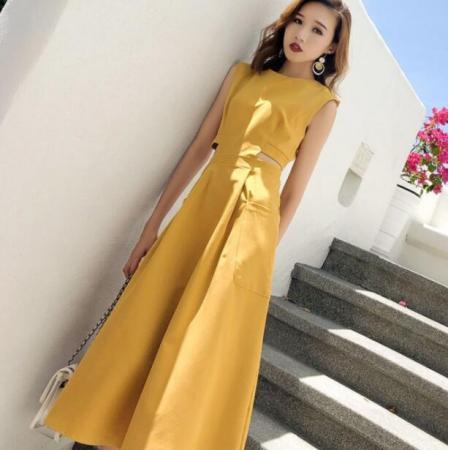 YF50818# 法式新款连衣裙气质女神范无袖收腰显瘦高冷御姐风A字度假裙子夏