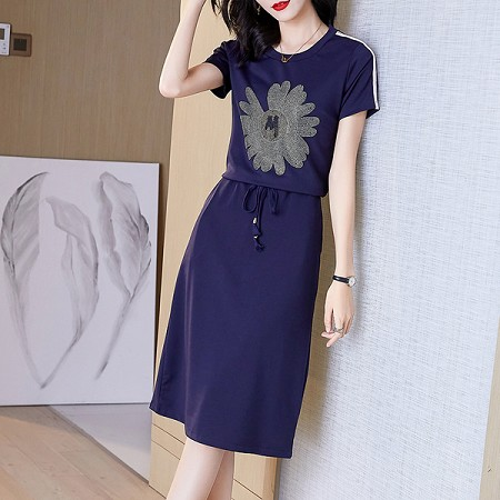 YF51559# 气质连衣裙女夏装新款显瘦气质运动休闲收腰裙子夏季 服装批发女装直播货源