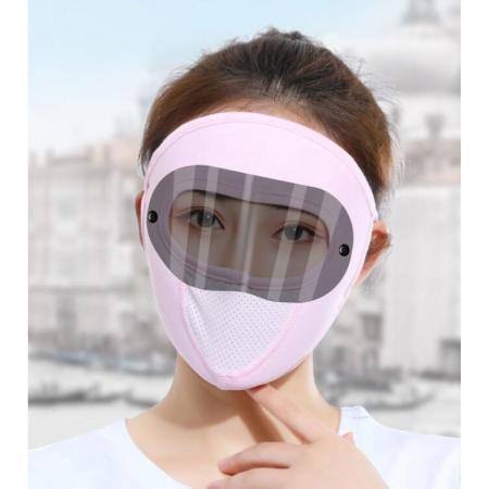 YF51589# 夏季冰丝防晒面罩女护全脸遮阳防紫外线薄款透气大口罩骑行电动车