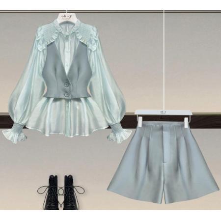 YF51859# 大码女装200斤胖妹妹春季套装女宽松衬衫背带马甲休闲裤三件套装