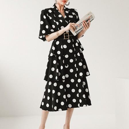 YF52349# 夏装韩版大牌气质西装领双排扣波点蛋糕裙时尚连衣裙女 服装批发女装直播货源