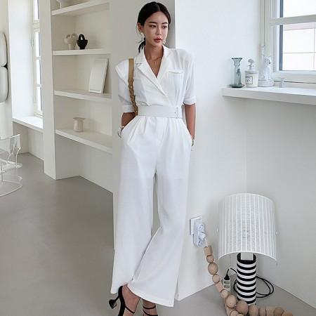 YF52353# 夏装新款韩版OL气质西装领腰带收腰职业女裤时尚连体裤 服装批发女装直播货源