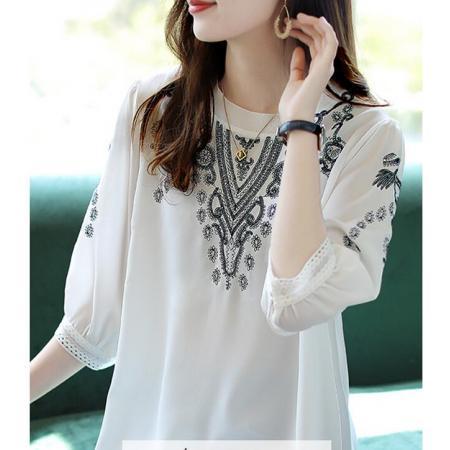 YF52376# 圆领七分袖刺绣雪纺衫女夏季2021新款时尚气质小衫宽松上衣