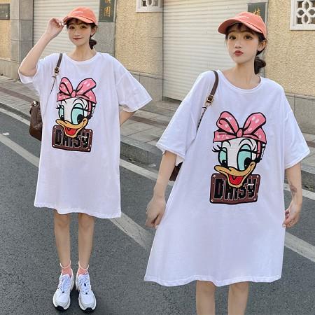 YF52578# 长款过膝宽松短袖t恤女新款夏韩版家居休闲百搭纯棉 服装批发女装直播货源