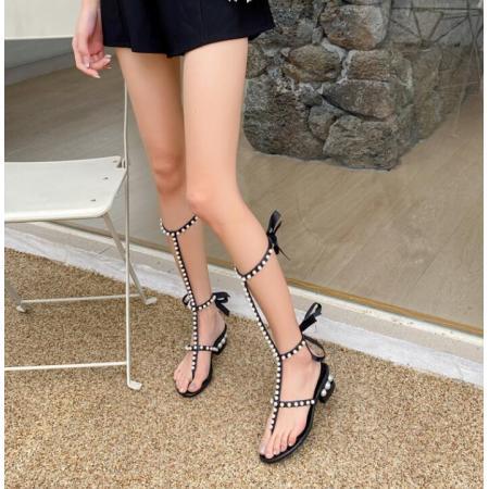 YF52378# 夹趾罗马高跟凉鞋女夏季新款镂空珍珠蝴蝶结绑带粗跟高筒凉靴