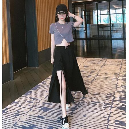 YF53216# 黑色开叉半身裙中长款女夏高腰过膝垂坠感侧开长裙新款伞裙子 服装批发女装直播货源