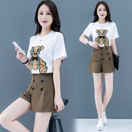 YF53431# 短裤套装女夏季新款气质休闲盐甜系炸街减龄时尚网红两件套 服装批发女装直播货源
