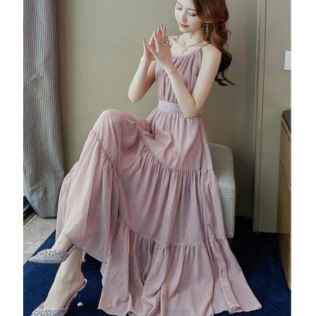 YF53695# 轻熟风吊带连衣裙夏季女装新款中长款法式收腰显瘦气质长裙子